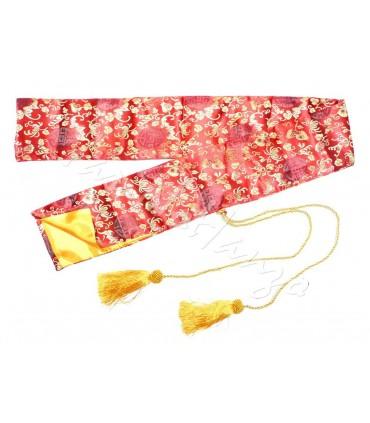 SEIDENHÜLLE rot mit goldenen Blumen