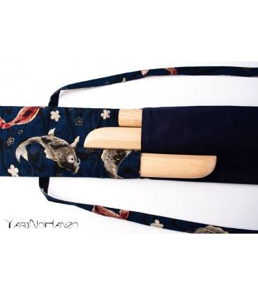 Aikido KOI blaue Tasche | Buki Bukuro KOI | Tasche für Tanto, Bokken und Jo